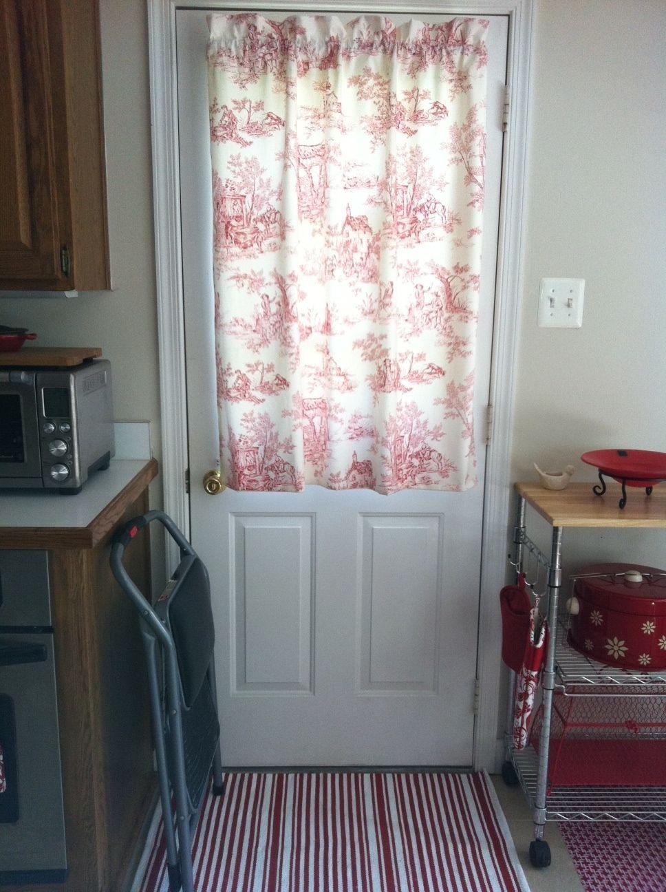 Kitchen door curtain.