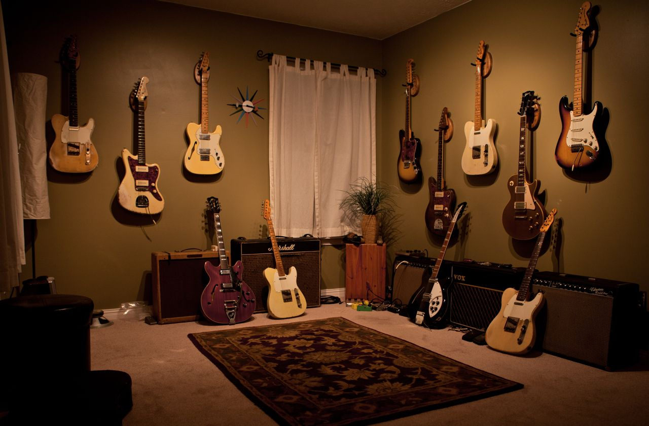 Guitar Decor For Bedroom Nice And Simple Clean Guitar Room Home Theater