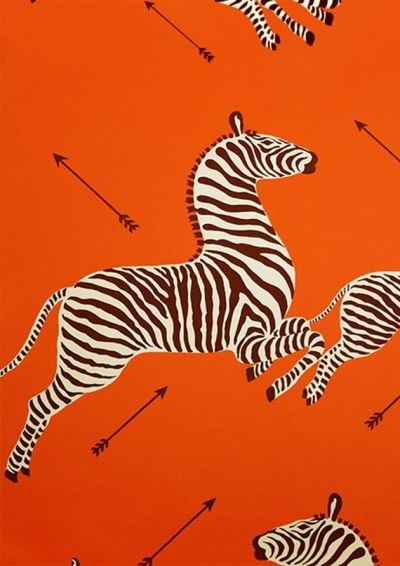 Scalamandre Zebra wallpaper in orange | Crazy About Orange | Pinterest