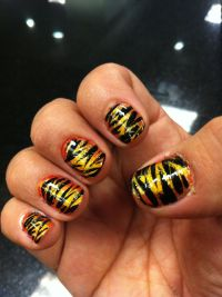 Tiger stripe nails | wine and cheese/girls night | Pinterest