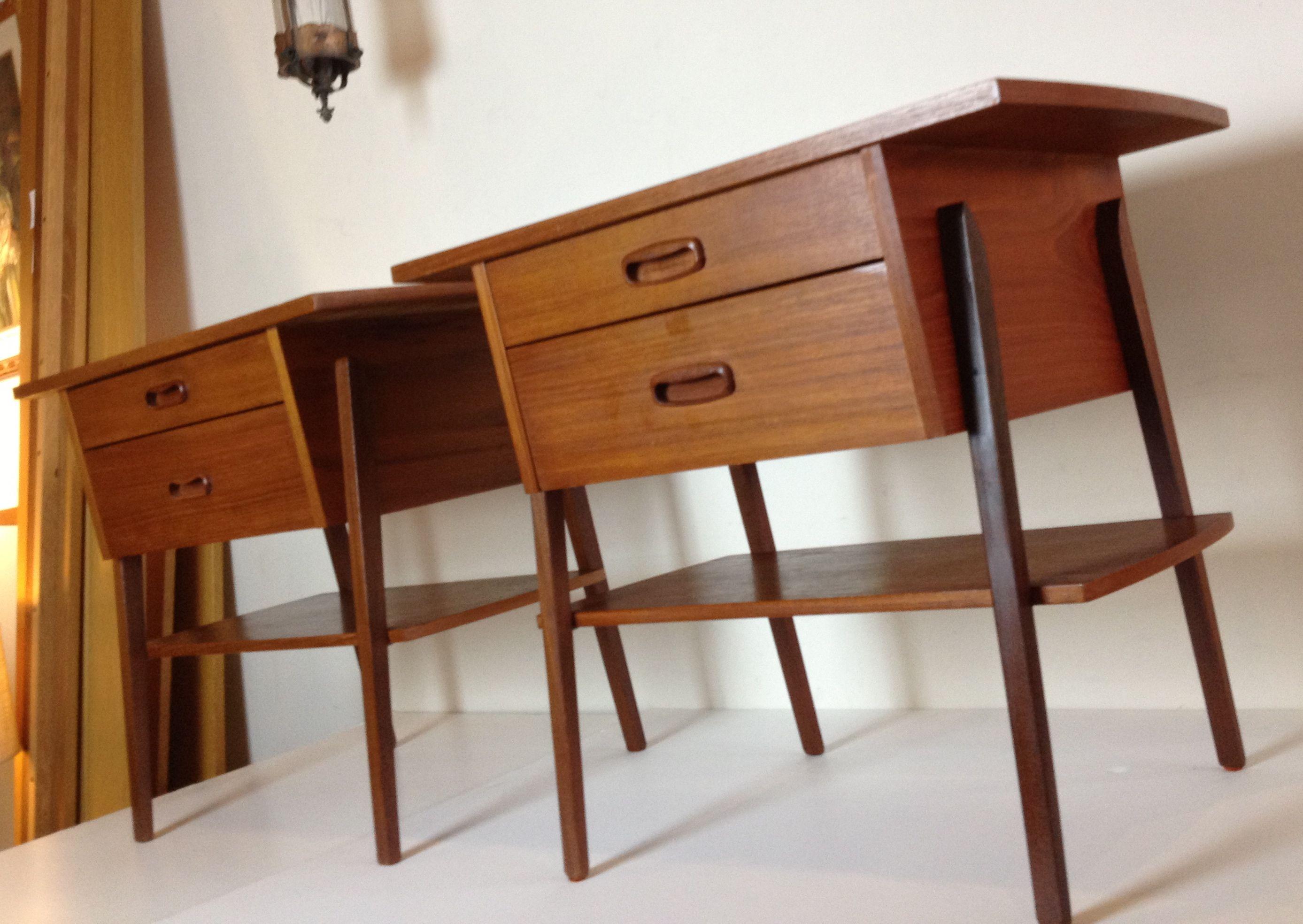 Danish teak bedsides vintage mid century modern furniture pintere