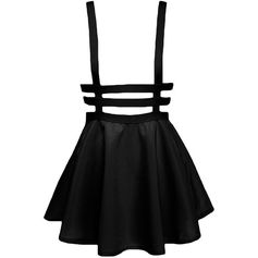 Women's Cute Elastic Waist Pleated Short Suspender Skirt ($11) ❤ liked on Polyvore