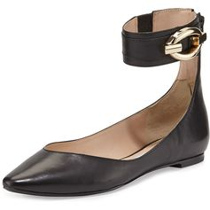 Diane von Furstenberg Evie Leather Ankle-Wrap Ballet Flat ($104) ❤ liked on Polyvore