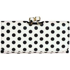 Wilsons Leather Brianne Dottie FauxLeather Clutch ($25) ❤ liked on Polyvore