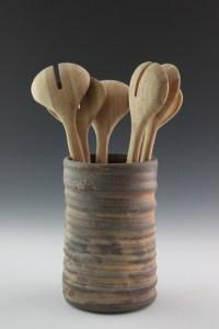 Ceramic Kitchen Utensil Holder Handmade Pottery- Wood ...