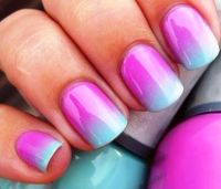 Pink and teal ombr nails | Hair, Skin, & Nails | Pinterest