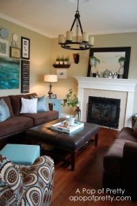 Aqua and brown living room