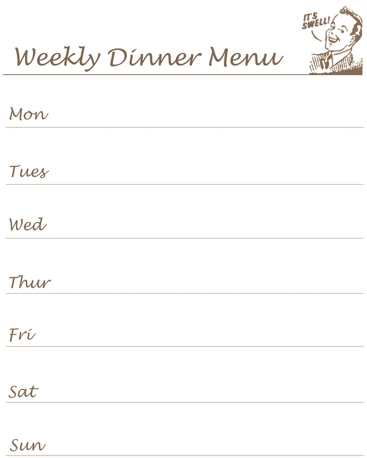 Weekly Menu Templates – Free Weekly Menu Templates