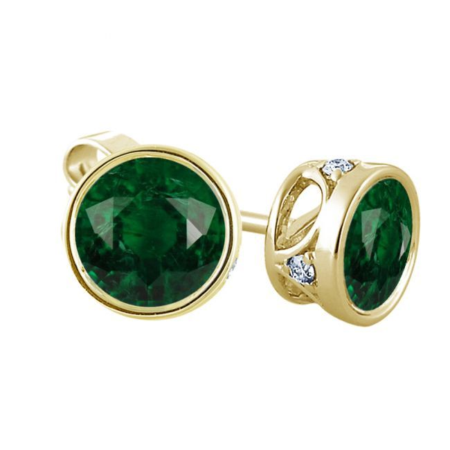 Diamond Earrings: Green Diamond Stud Earrings