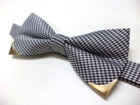 Houndstooth bow tie with gold color metal tips, wedding ...