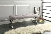 Tufted X Leg Bench Grey Gray Chrome Metal Ottoman Seating ...