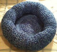 Scrap Yarn Blue Crocheted Cat or Small Dog Bed sturdy long ...