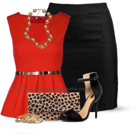 """""""Belted Peplum Top"""" by uniqueimage on Polyvore"""