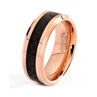 Mens Tungsten Carbide Wedding Band Ring 18k Rose Gold 8mm ...