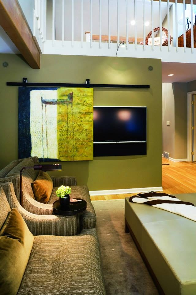 Wohnzimmer Board Hide Tv Behind Sliding Art | Archi Déco Divers Idées