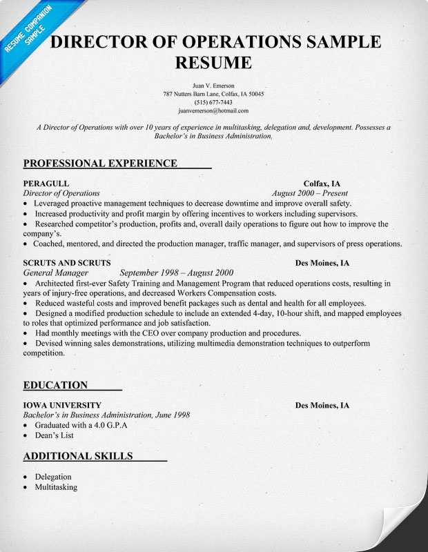 resume samples director of operations resume samples our collection of free resume examples director of operations