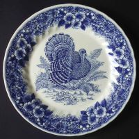 Queens China THANKSGIVING-BLUE Dinner Plate 6413561