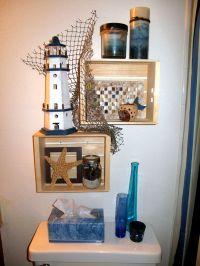 Beach themed shelves | Beach Bathroom | Pinterest
