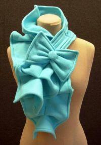 Fleece ruffle bow scarf. No pattern | Fleece | Pinterest