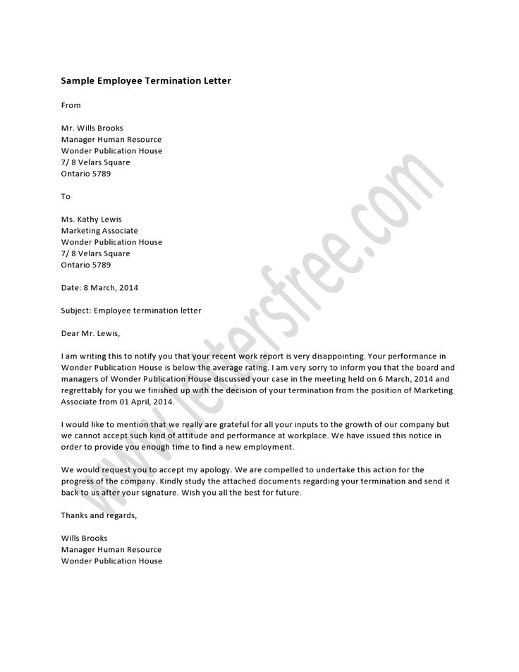 Employee Termination Letter Template | Sample Customer Service Resume