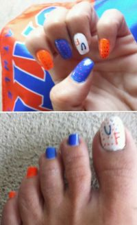 My art. Dyi #gators #nails | I bleed Orange & Blue | Pinterest