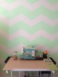Mint green chevron striped wall. | Did it! | Pinterest