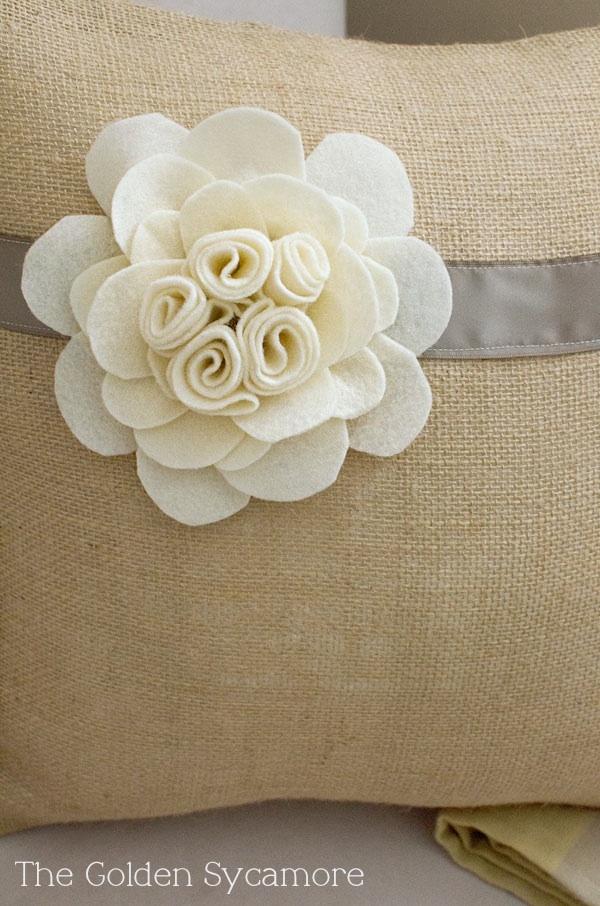 felt flower. The Golden Sycamore: Embellished Burlap Pillow Tutorial