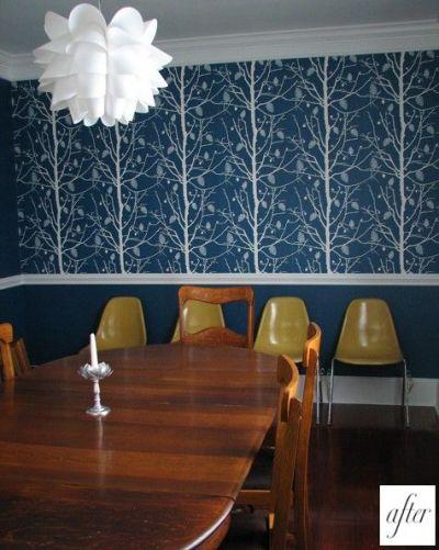chair rail + bold wallpaper. | decorating | Pinterest