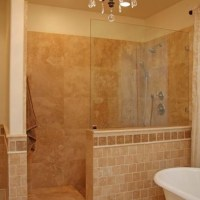 Love the 1/2 wall / no door shower   For the Home   Pinterest