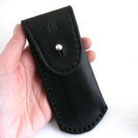 Pocket Knife Holder. Black leather pocket knife holder for ...