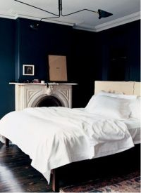 Navy bedroom walls | For the Home | Pinterest