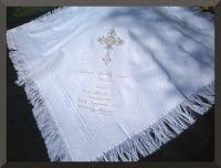 Baby Gift Christening Baptism Blanket Shawl white cream ...