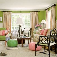 Pink and green living room | For the Home | Pinterest