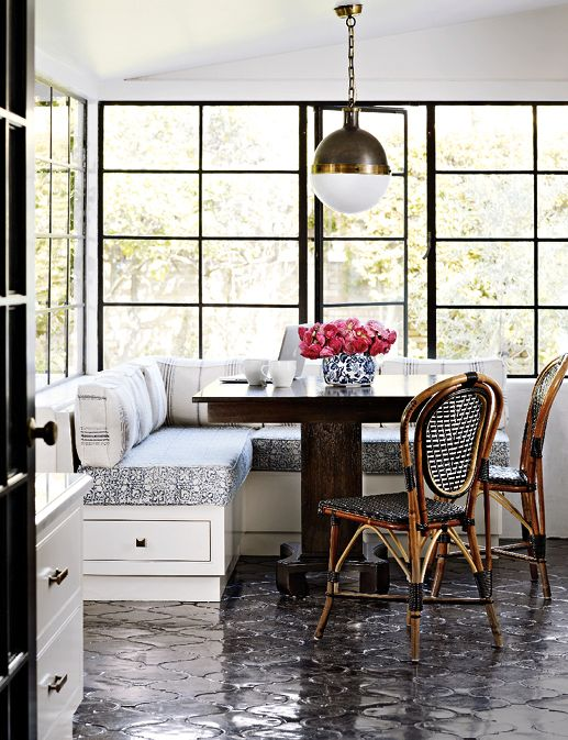 Modern French breakfast nook - love the bistro chairs and the clean lines.