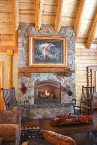 Log Cabin Fireplace | Log Cabins & Fireplaces | Pinterest