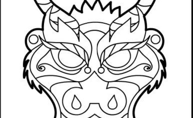 Chinese Dragon Mask Coloring Pages  Coloring Pages