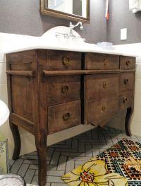 Repurposed dresser into bathroom vanity | Attic bathroom ...