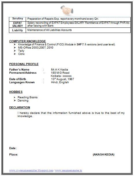 Declaration In Resume Sample   Cover Letter Tips