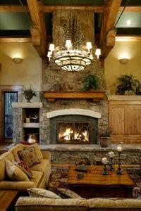 Log Home Fireplace   Home Decor   Pinterest