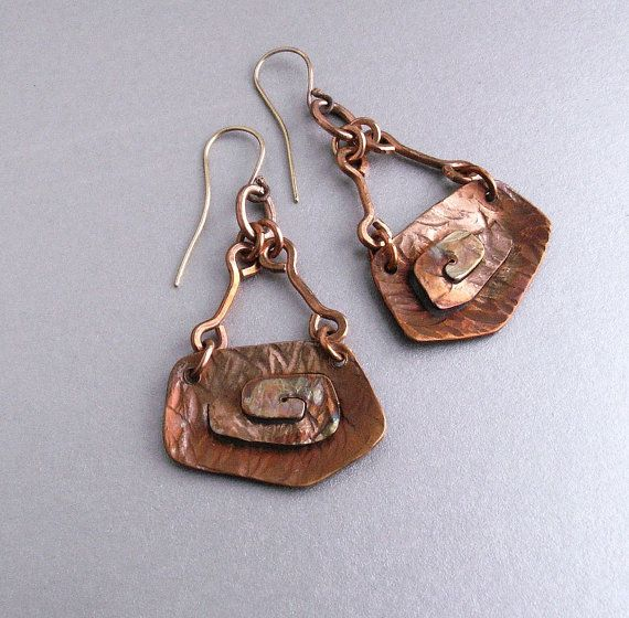 Copper earrings, copper jewelry, handmade copper earrings