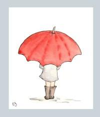 The Red Umbrella. Print 8X10. Nursery Art Wall Decor
