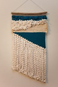 teal asymmetrical / tapestry wall hanging / weaving with ...