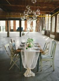 cheesecloth runner, table setting | For the Home | Pinterest