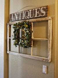 Antique wood sign, old window, wreath | I Heart Primitives ...