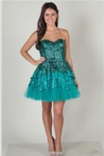 Blue Short Sparkly Prom Dress