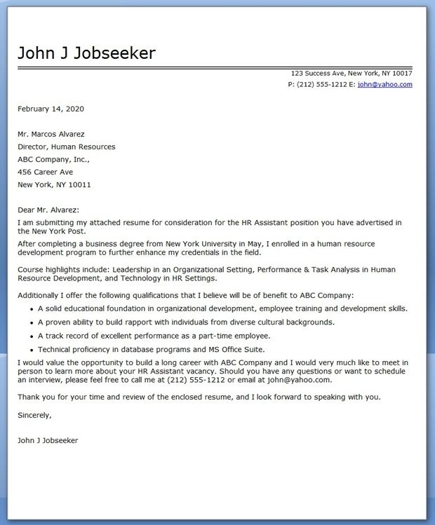 cover letter for recent college grad