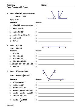 All Worksheets  Geometry Proofs Worksheets With Answers