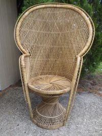 Tall Wicker Scroll Work Chair Victorian Shabby Chic Beach ...