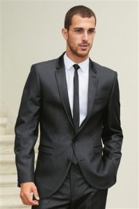 Charcoal grey suits with skinny ties