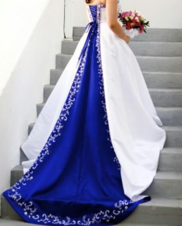 Wedding Dresses With Royal Blue Trim